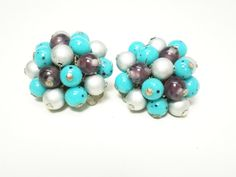 Vintage Earrings 1950s Signed Japan Turquoise Silver by BagsnBling, $10.50