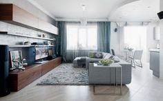 meuble de rangement en bois massif, canapé droit gris taupe, tapis shaggy et carrelage sol imitation bois
