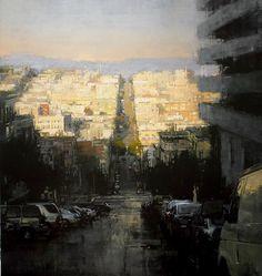 "Jeremy Mann. ""North Beach Sunset"" Oil on Panel 48 x 45 in. 2011"