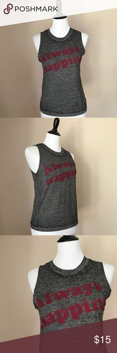 "Always Napping Heather Grey Raw Hem Tank 💤 Cute Fifth Sun Heather Grey Burgundy Lettering ""Always Napping"" Tank with Raw Hem. NWOT. New Condition! Size XS. True to Size. So cute in the Summer or with oversized sweaters over it in the Fall! 🍁🍂🍁🍂🍁 Fifth Sun Tops Tank Tops"