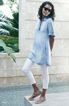 Side Stitch Chambray Tunic | Nordstrom