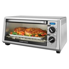 Black & Decker Toaster Oven with Stainless Steel/ Painted finish has a large capacity with convection, bake, broil, toast and keep warm controls. Countertop Convection Oven, Convection Cooking, Oven Cooking, Cooking Utensils, Stainless Steel Toaster, Stainless Steel Countertops, 6 Slice Toaster, Toaster Ovens, Black And Decker Toaster