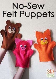 No Sew Felt Puppets - Make these fun felt animal puppets in less than 15 minutes each with no sewing! : No Sew Felt Puppets - Make these fun felt animal puppets in less than 15 minutes each with no sewing! Felt Crafts Kids, Animal Crafts For Kids, Toddler Crafts, Preschool Crafts, Crafts With Felt, Clay Crafts, Felt Puppets, Puppets For Kids, Felt Finger Puppets