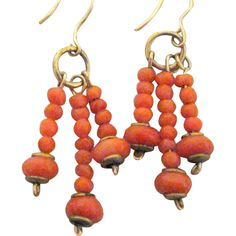 Victorian Earrings of Dainty Coral Beads