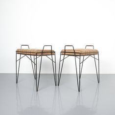 Steel Wire Frame Stools Set of Four Small Benches, circa 1950
