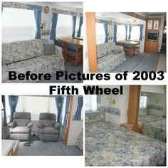 These are some of the before pictures of 5th wheel.  Since I loved the colors I used in the other one I'm going to go with them.  The sofa is ordered and I decided on a sleeper in the same colors as the one in the Jayco.  Need new recliners and will be working on covering the cornices, making new curtains and recovering the chair seats.  Last will be the floors!  Keep looking back for updates!
