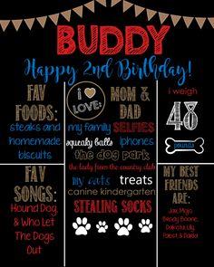 Dog Birthday Chalkboard Sign-Puppy Dog- Dog Bones- Printable Birthday Chalkboard Poster- Birthday Board- Personalized Custom Sign by SouthernElegancePE on Etsy