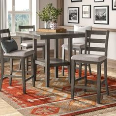 Chic Sela 5 Piece Counter Height Solid Wood Dining Set by Millwood Pines kitchen dining furniture sale from top store Solid Wood Table Tops, Dinette Sets, Living Room Sets, Breakfast Nook Dining Set, Solid Wood Dining Set, Counter Height Dining Sets, Dining Table Setting, Dining Set, Nook Dining Set