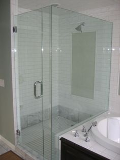 Image Of A Frameless Shower Door With Knee Wall Return