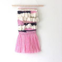 Weaving wall hanging 'Petite Range' in pink by MadeByLTshop