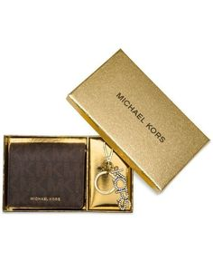 New Michael Kors Carryall Medium Card Case and Key Fob Boxed Set Brown #MichaelKors #Wallet