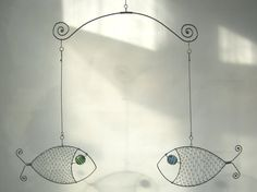 Fish Mobile Wire Art Sculpture by MyWireArt on Etsy, $60.00