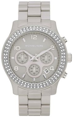 467716cb992 Michael Kors Women s MK5566 Grey Ceramic Bracelet Silver Dial Chronograph  Watch  Watches  Amazon.