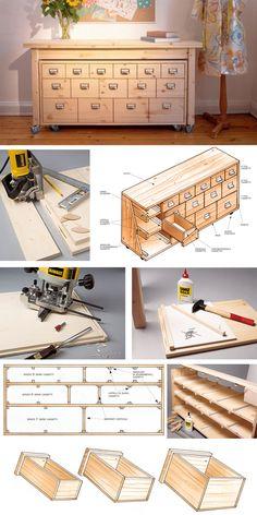 Diy Furniture Plans, Woodworking Furniture, Wood Furniture, Woodworking Projects, Shop Cabinets, Diy Cabinets, Vintage House Plans, Diy Holz, Wood Crafts