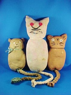 Antique Sock or Stocking Cat Kitty Toys by AmericanaAntiques
