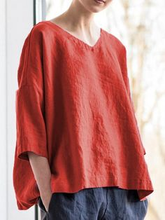 Women Casual Tops V Neck Asymmetrical Long Sleeve Cotton Shirt Half Sleeves, Types Of Sleeves, Cocoon, Plus Size Tips, Style Retro, Plus Size T Shirts, Casual Tops For Women, Plus Size Women, Woman Shirt