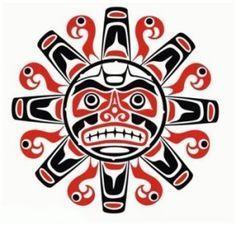 Tribal native haida tattoo sun with face.