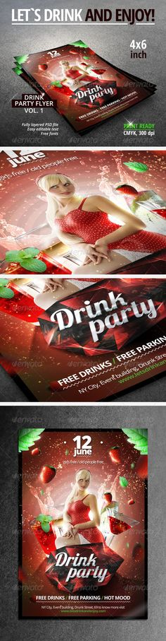 Drink Party Flyer Vol.1  #GraphicRiver         You can use the flyer for evening and night parties, get-togethers and other similar events.   Model is not included. But you can download it from here:  .shutterstock /pic.mhtml?id=30132097&src=id Insert photo into the masked smart object labeled purple.   Also you can insert your own photo inside purple labeled folder into PSD file.   Fully layered PSD File Labeled & Organized in Folders  Easy editable text     Free fonts  Print Ready  …