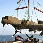 German bomber Dornier 17 brought to shore after being raised from English Channel near Deal