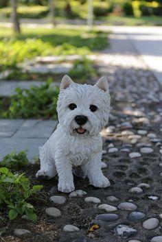 Sitting White Terrier Dog Statue