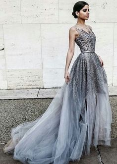 A-line Lavender Bateau Sleeveless Belt Sweep Train Beading Prom Dress prom,prom dress,prom dresses,long prom dress,2017 prom dress