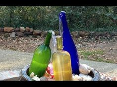 Wine Bottle Trio Waterfall Fountain Here are 60 creative DIY glass bottle ideas for outdoor living spaces. From bottle trees to bottle walls, recycled glass bottles become outdoor art. Wine Bottle Fountain, Diy Water Fountain, Diy Garden Fountains, Indoor Water Fountains, Waterfall Fountain, Fountain Ideas, Fountain Design, Patio Fountain, Diy Waterfall