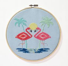 Miami Flamingos - Modern counted cross stitch pattern - Instant Download PDF