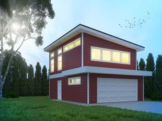 Midway-This modern carriage house has a luminous, self-contained suite over a double car garage. Perfect for an in-law suite, extra rental income or a private studio / office space. Modern House Plans, Small House Plans, House Floor Plans, Garage Apartment Plans, Garage Apartments, Garage Design, House Design, Plan Garage, Garage Loft Plans