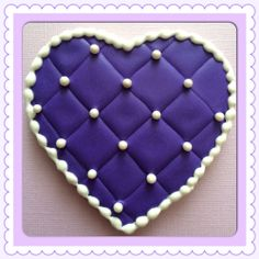 Sofia the first decorated cookies  quilted heart sugar cookie, royal icing, princess, princess birthday, princess sofia cookies, cookie favors, purple heart