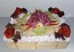 slaný dort obdélník s variací salámů a sýrů Creative Food, Catering, Cheese, Cake, Desserts, Savory Snacks, Tailgate Desserts, Deserts, Catering Business