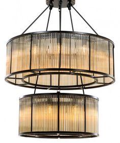 Casa Padrino Luxus Hängeleuchte Bronze Finish / Glas - Art Deco Restaurant - Hotel Lampe Leuchte Leuchten, Lüster & Lampen Kronleuchter & Lüster
