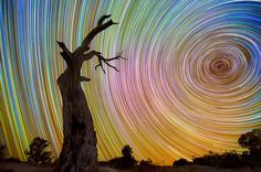 """archiemcphee: """"Australian photographer Lincoln Harrison created an awesome ongoing series of long-exposure photos entitled Startrails. Lincoln has been known to spend up to 15 hours in wintry weather. Exposure Photography, Night Photography, Amazing Photography, Nature Photography, Lincoln, Light Painting, Santa Claus Images, Long Exposure Photos, Ephemeral Art"""