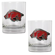 Great American Products Arkansas Razorbacks 2pc Rocks Glass Set