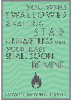 Howl's Moving Castle Quote Art Print by Farquharson - X-Small Canvas Quotes, Art Prints Quotes, Art Quotes, Quote Art, Hayao Miyazaki, Totoro, Heartless Quotes, Castle Quotes, Studio Ghibli Movies