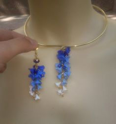 Ombré blue jewelry Polymer jewelry  Blue necklace and by insou, $60.00