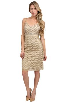 The Beaded Short Dress in Beige by Sue Wong at ADASA.com