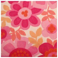Vintage fabric red pink orange floral