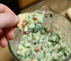 Cucumber Salsa!  1/4c= 16calories...this looks yummy!