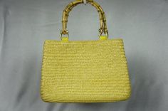 Mint vintage bag yellow straw bag bamboo handle bag by PurseFancy