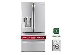 refrigerator 4 drawers  33 wide 35+ inches deep  24 cu feet    LGLMX25988ST