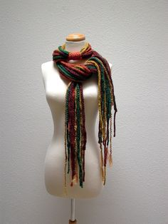 abstract landscape bohemian crochet chain scarf by KnotOriginal, $76.00
