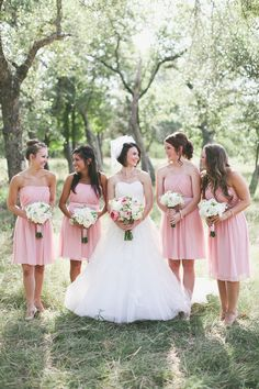 Country wedding, short #Pink #Bridesmaids #Dresses ♥ For an easy-to-follow 'Wedding Planning Guide' ... https://itunes.apple.com/us/app/the-gold-wedding-planner/id498112599?ls=1=8 ♥ For more wedding inspiration ... http://pinterest.com/groomsandbrides/boards/ & magical wedding ideas.