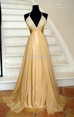 Wholesale Sexy Gold Chiffon Pageant Halter Wedding Dresses Women's Dresses Custom Online with $104.82/Piece on Hao_bag's Store | DHgate.com