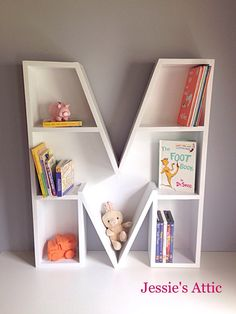 These alphabet bookcases are the perfect way to personalize your childs room. Handmade out of beautiful pine wood. This shelf ships fully