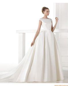 2015 A-linie Rückenfreie Festliche Brautkleider aus Taft mit Schleppe