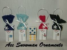 Great Idea - Dominoes as Snowman Ornaments..cute kids craft!!