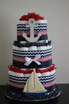 3 Tier Red Navy Nautical Diaper Cake, Red and Navy, Boy Baby Shower, Nautical… Nautical Diaper Cakes, Diaper Cake Boy, Nappy Cakes, Nautical Baby, Nautical Theme, Baby Shower Diapers, Baby Boy Shower, Baby Shower Gifts, Baby Decor