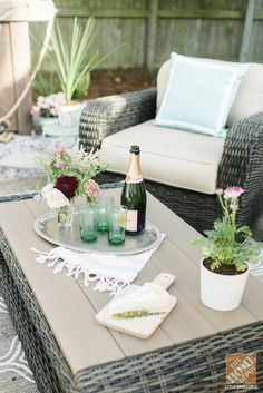 A backyard soiree doesn't have to be complicated! Drinks and a cheese platter are all you need to enjoy chatting with friends late into a summer evening.