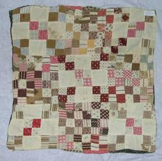 """Doll Quilt, DAR Museum, four patch, nine patch, 13"""" x 12.5"""", c. 1880, hand pieced, edges turned in, no separate binding, no batting, not quilted, teaching or learning sample"""
