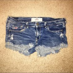 Hollister shorts Distressed medium wash Hollister jeans. Very stretchy. Size 9. Worn several times, but still a lot of life left! Hollister Shorts Jean Shorts